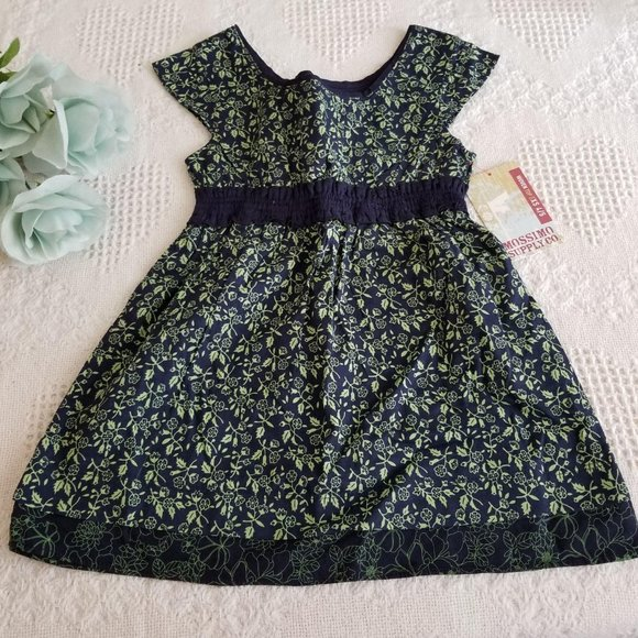 Mossimo Supply Girls Blue Green Floral Dress JJ374